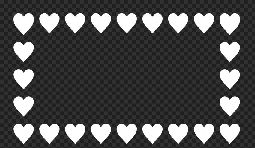 HD White Hearts Emoji Horizontal Frame PNG