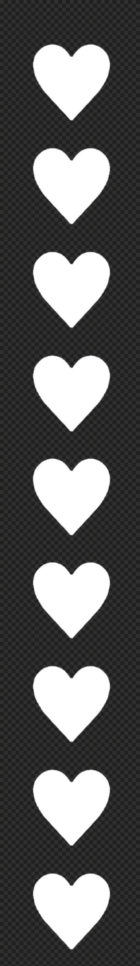 HD White Hearts Emoji Vertical Border PNG