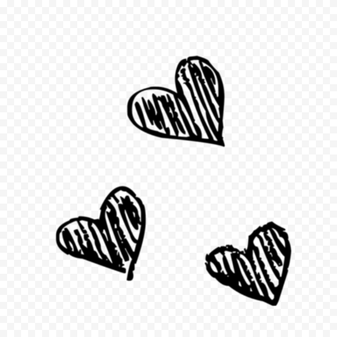 HD Three Black Sketching Hearts PNG