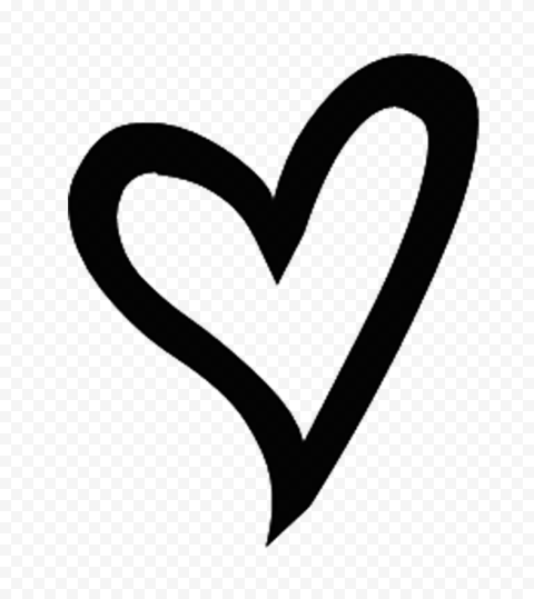 Black Outline Hand Drawn Heart PNG