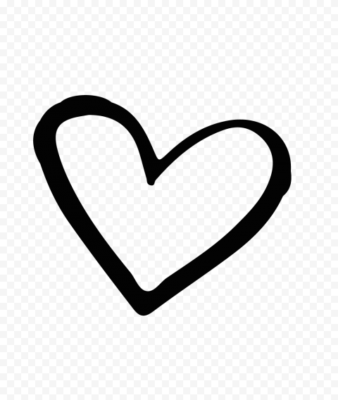 HD Black Outline Hand Drawn Heart PNG