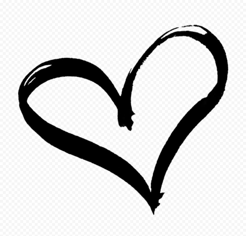 HD Black Hand Drawn Heart PNG