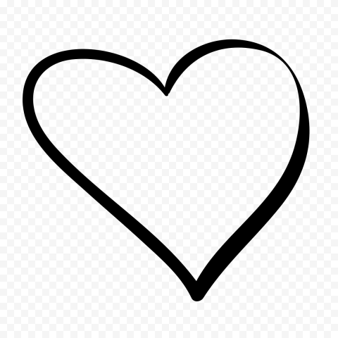 HD Black Outline Heart Hand Drawn PNG