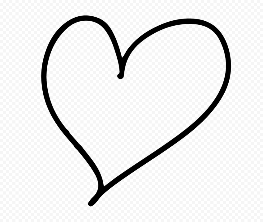 HD Black Line Heart Hand Drawn PNG