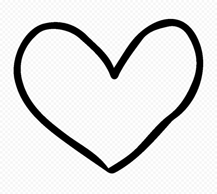HD Black Outline Drawn Heart PNG