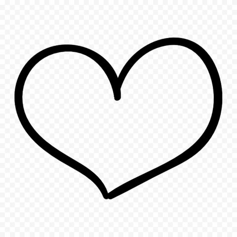 HD Outline Black Drawn Heart PNG