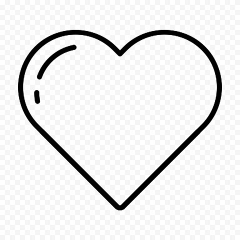 HD Love Black Line Heart Icon PNG