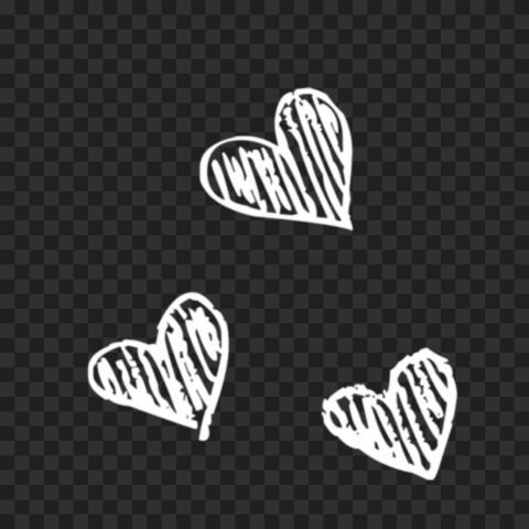 HD Three White Sketching Hearts PNG