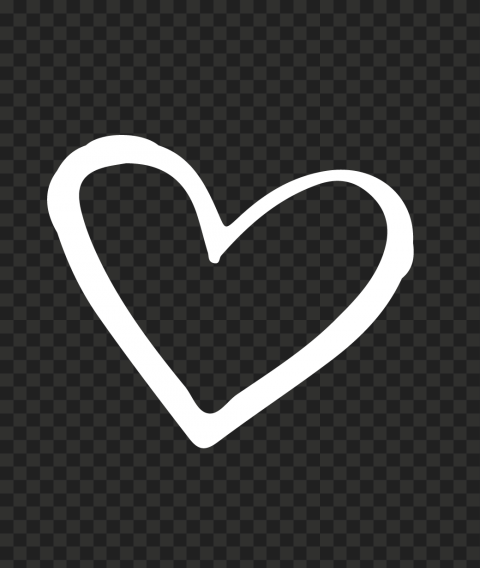 HD White Outline Hand Drawn Heart PNG