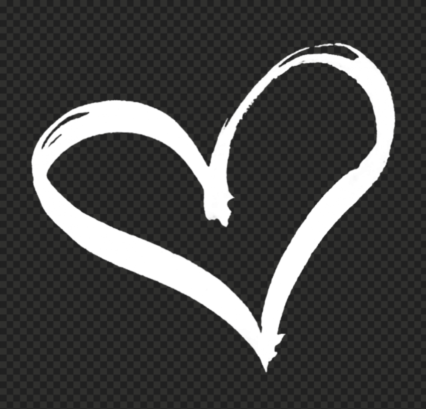 HD White Hand Drawn Heart PNG