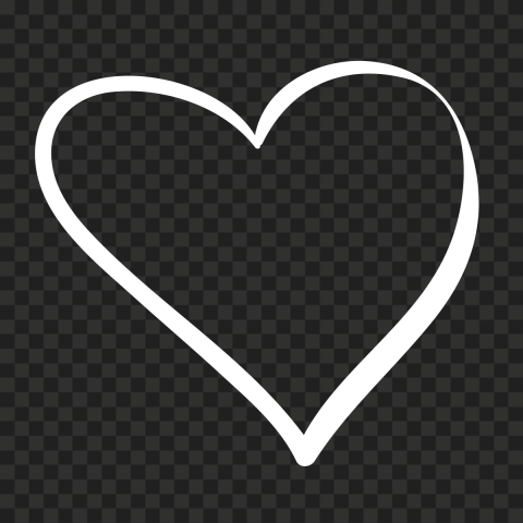 HD White Outline Heart Hand Drawn PNG