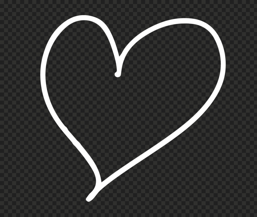 HD White Line Heart Hand Drawn PNG