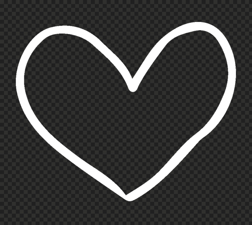 HD White Outline Drawn Heart PNG