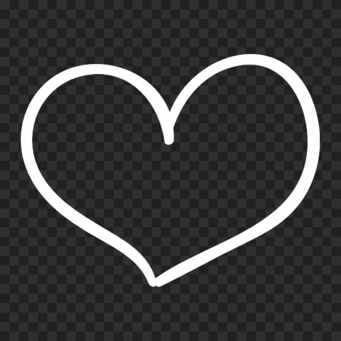 HD Outline White Drawn Heart PNG