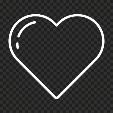 HD Love White Line Heart Icon PNG
