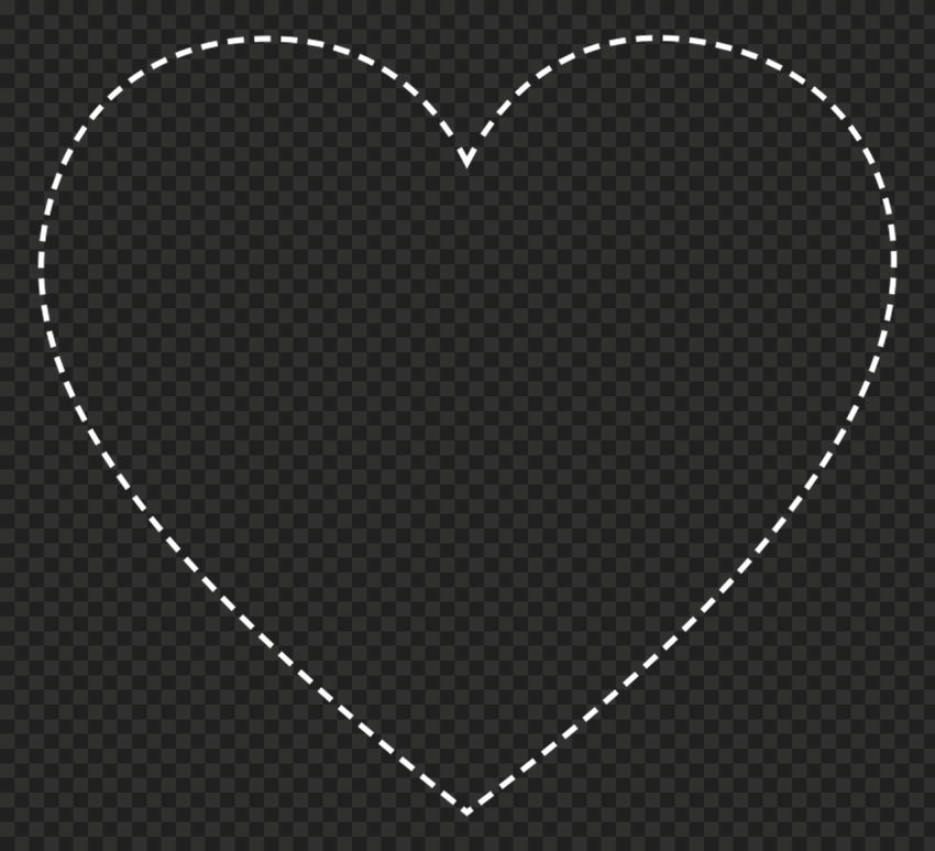 HD White Dotted Heart Shape PNG