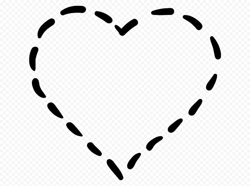 HD Black Dotted Line Heart PNG
