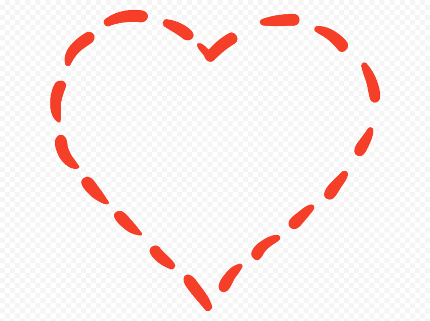 HD Red Dotted Line Heart PNG
