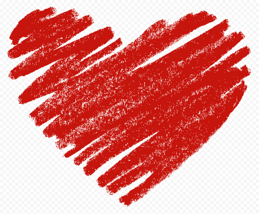 HD Red Sketch Heart Love PNG
