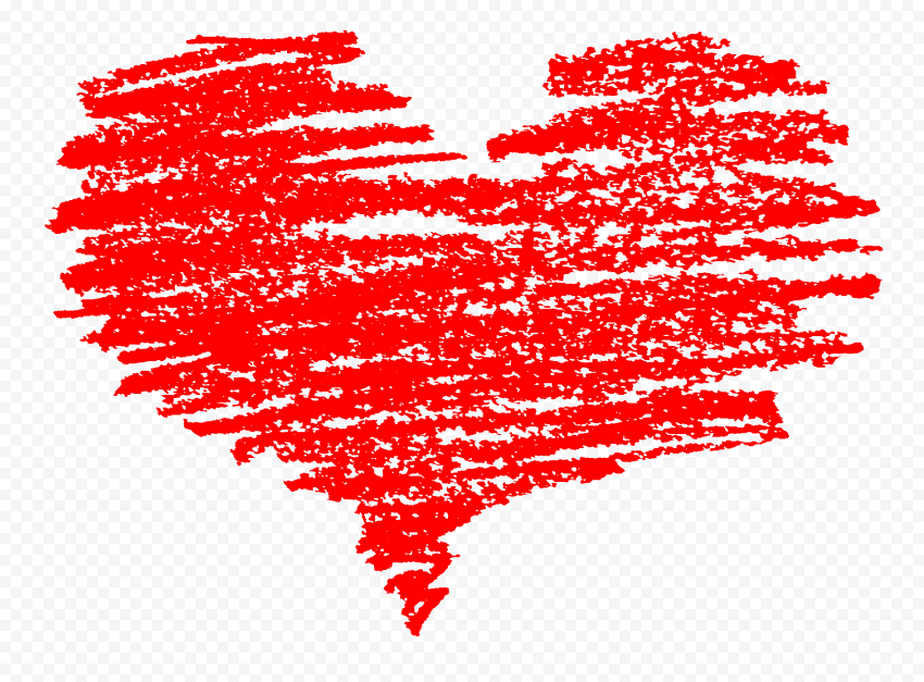 HD Red Sketch Heart Love Valentine PNG