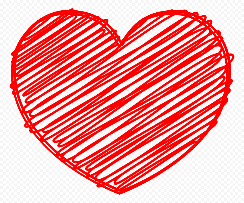 HD Red Heart Sketch High Quality PNG
