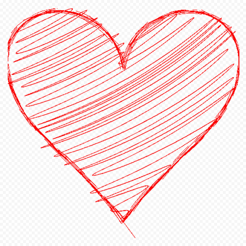 HD Red Hand Sketch Heart Love PNG