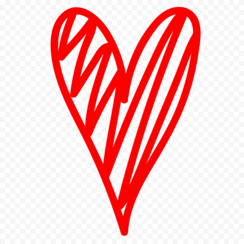 HD Red Sketch Heart Clipart PNG