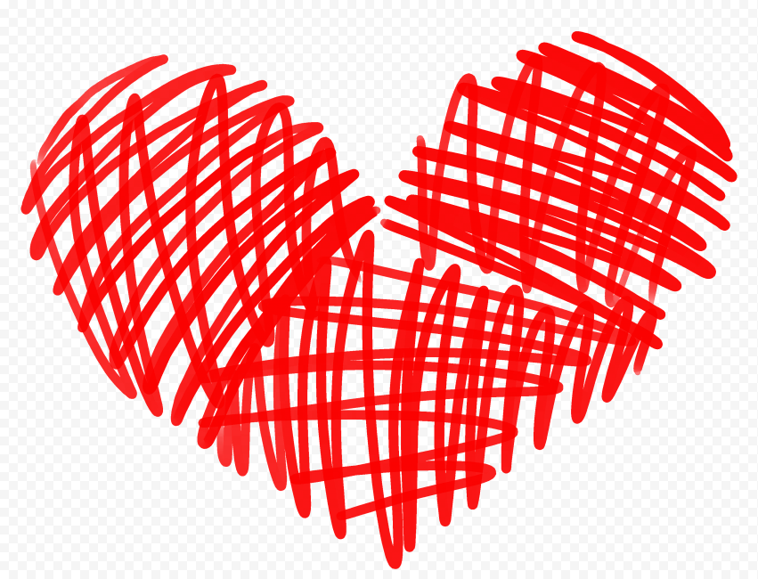 HD Red Lines Sketch Heart Love Valentines PNG