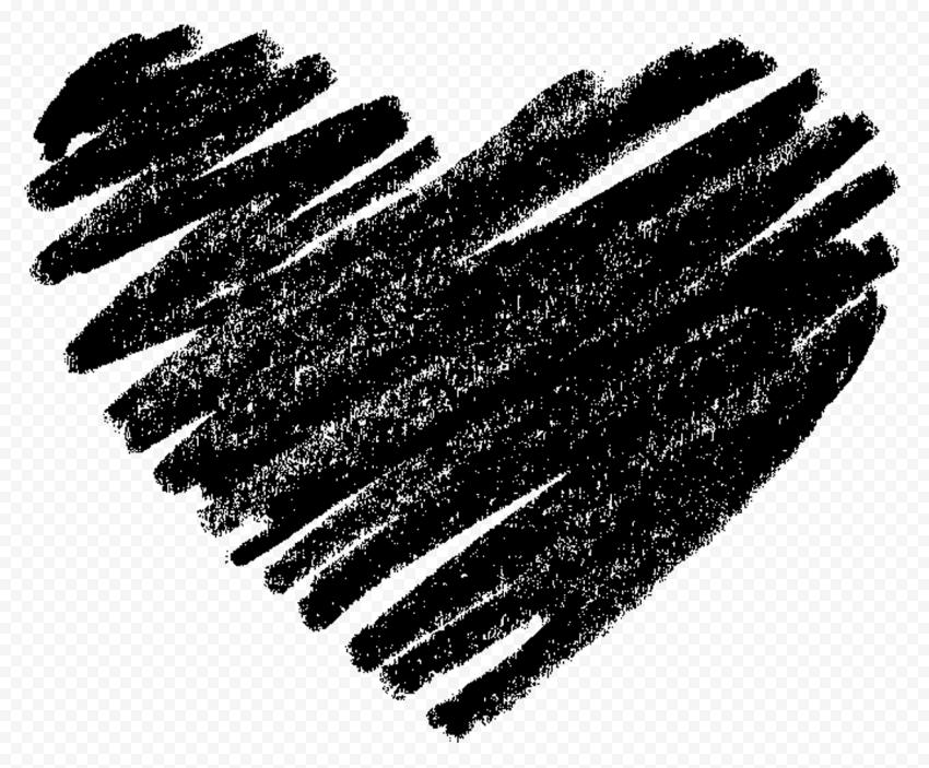 HD Black Sketch Heart Love PNG