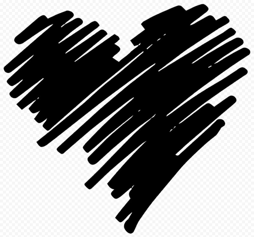 HD Black Heart Pen Sketch Art PNG