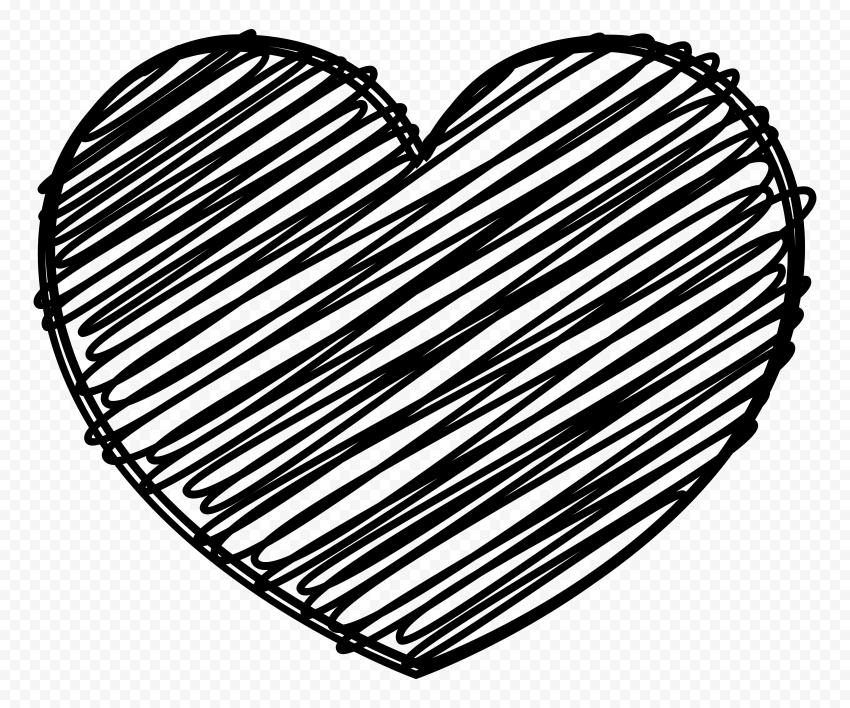 HD Black Heart Sketch High Quality PNG