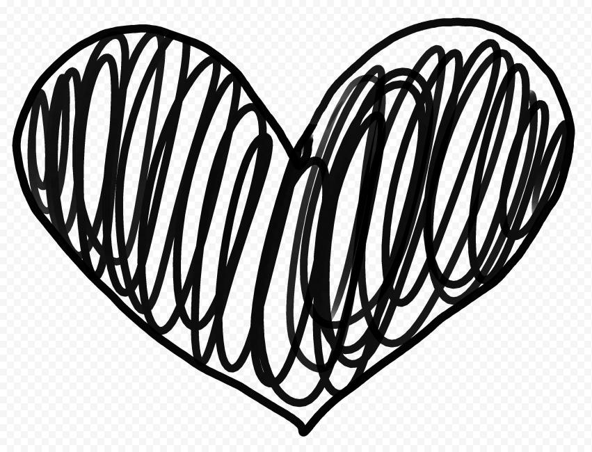 HD Black Lines Sketch Heart PNG