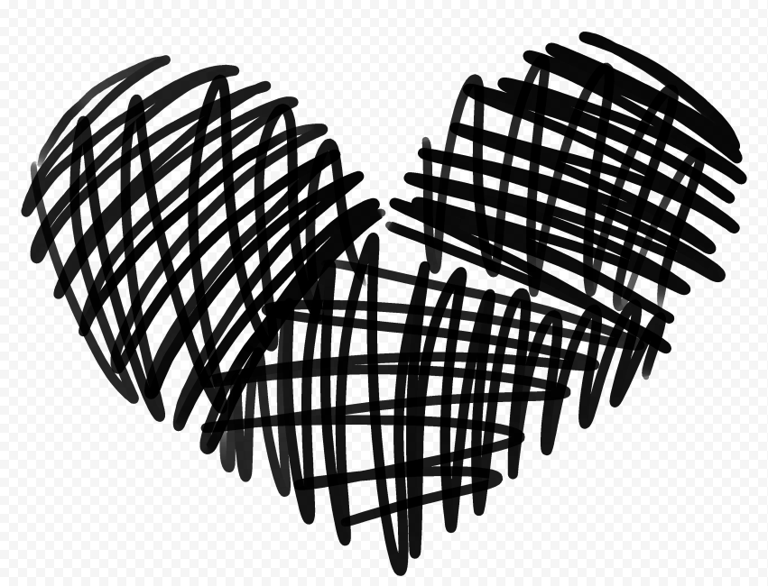 HD Black Lines Sketch Heart Love Valentines PNG