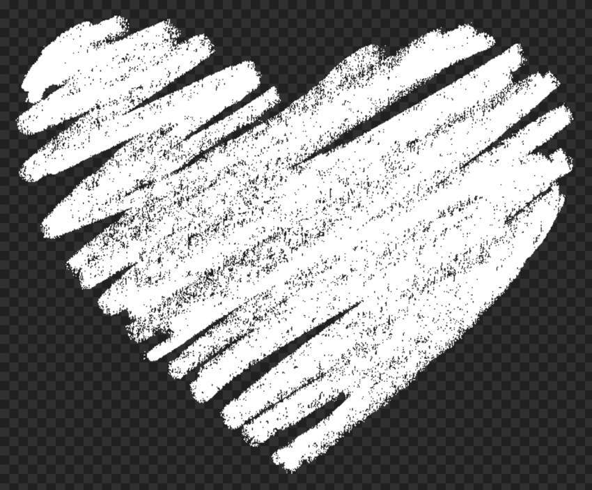 HD White Sketch Heart Love PNG