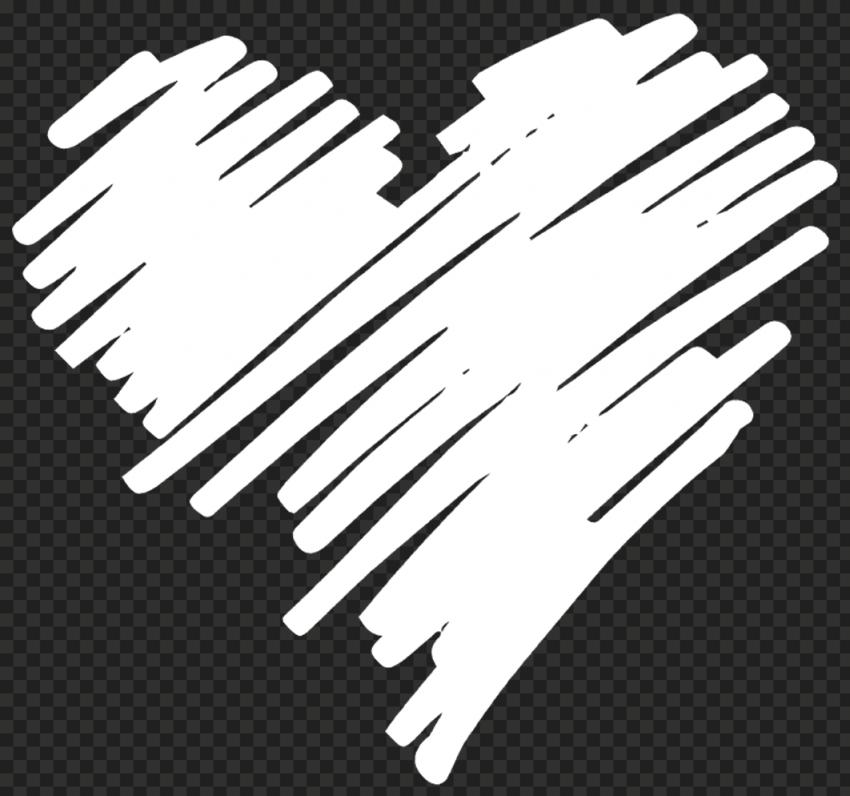 HD White Heart Pen Sketch Art PNG