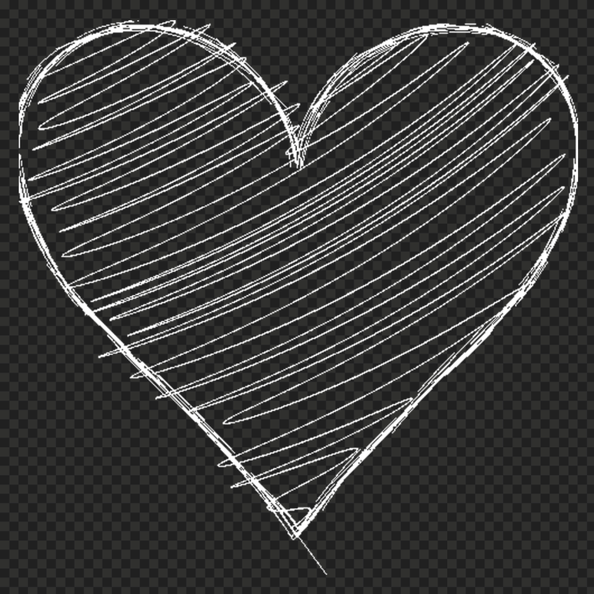 HD White Hand Sketch Heart Love PNG