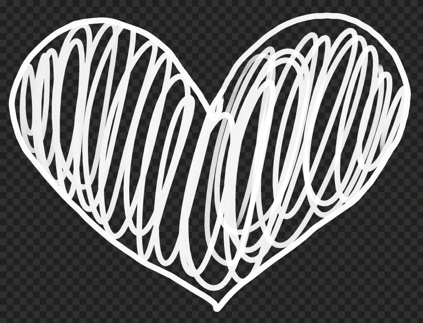 HD White Lines Sketch Heart PNG