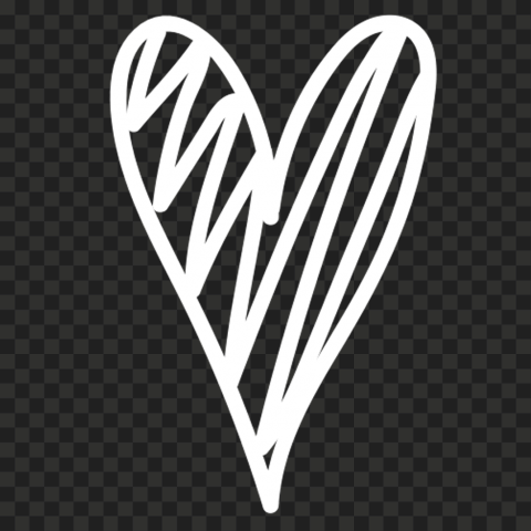 HD White Sketch Heart Clipart PNG