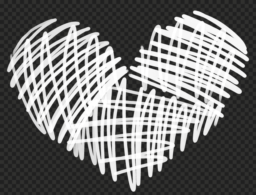 HD White Lines Sketch Heart Love Valentines PNG