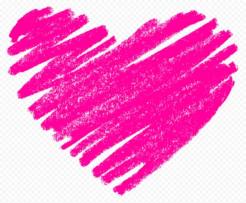 HD Pink Sketch Heart Love PNG