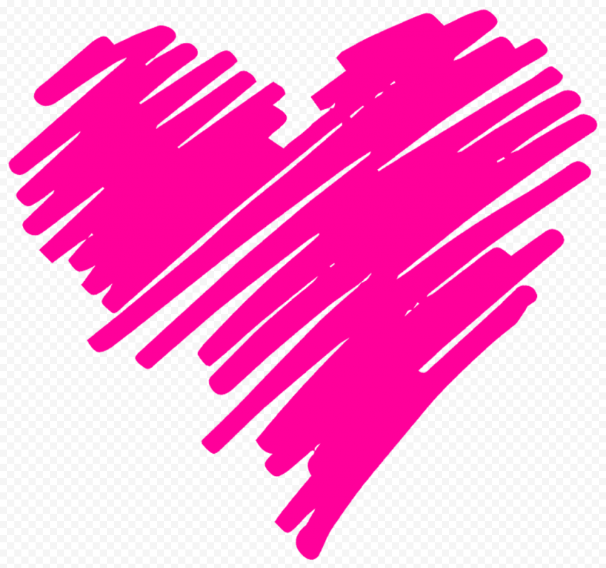 HD Pink Heart Pen Sketch Art PNG