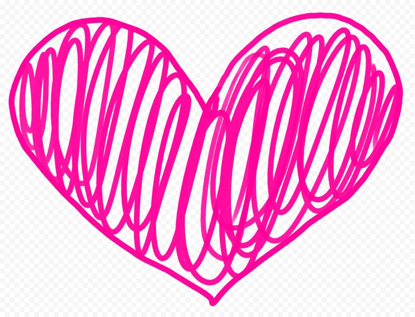 HD Pink Lines Sketch Heart PNG