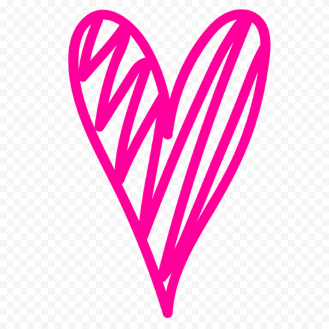 HD Pink Sketch Heart Clipart PNG