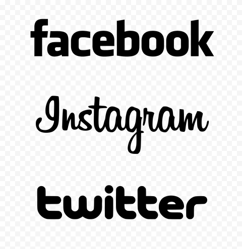 HD Facebook Instagram Twitter Black Vertical Logos PNG