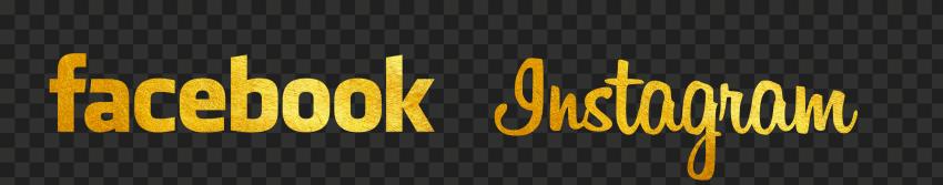 HD Facebook & Instagram Gold Logos Signature PNG