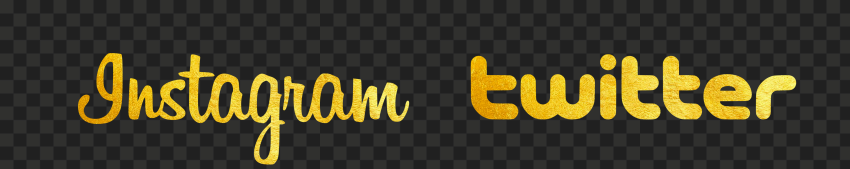 HD Instagram & Twitter Gold Logos Signature PNG