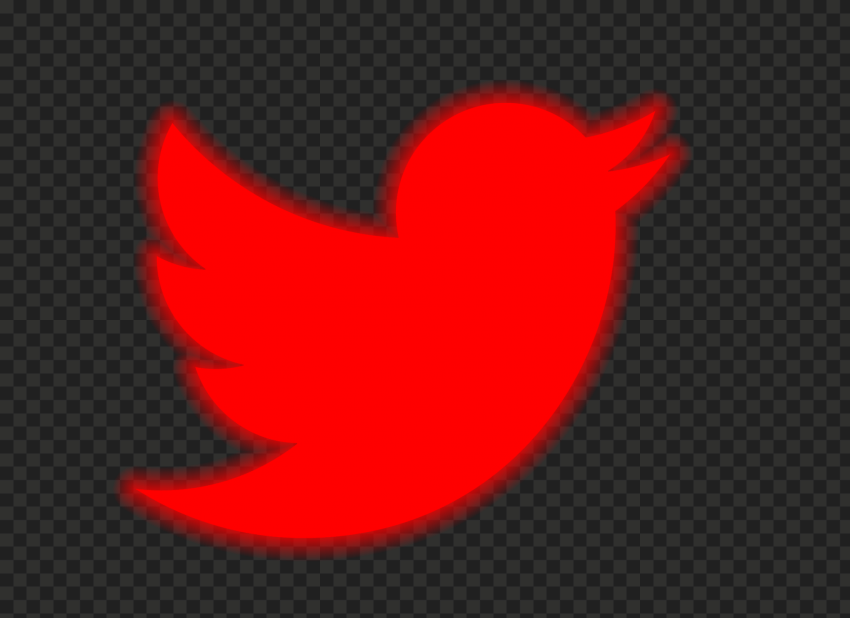 HD Red Neon Twitter Logo PNG