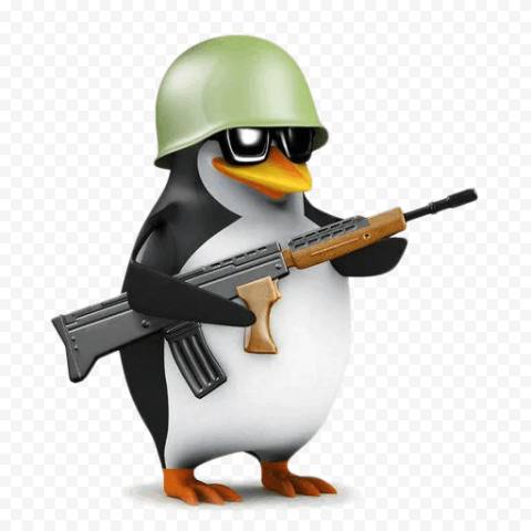 HD Cartoon Army Penguin With Gun PNG