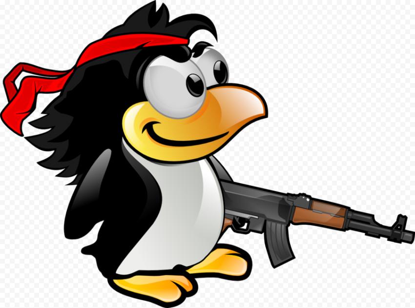 HD Cartoon Penguin With Gun PNG