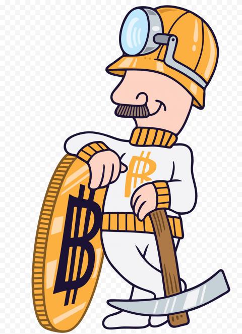 HD Cartoon Bitcoin BTC Mining Miner PNG